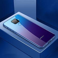 Custodia Lusso Alluminio Laterale Specchio 360 Gradi Cover M06 per Huawei Mate 30 Lite Blu