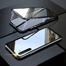 Custodia Lusso Alluminio Laterale Specchio 360 Gradi Cover M06 per Realme X2 Nero