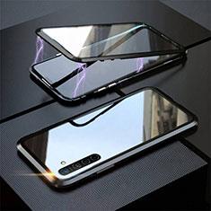 Custodia Lusso Alluminio Laterale Specchio 360 Gradi Cover M06 per Realme XT Nero
