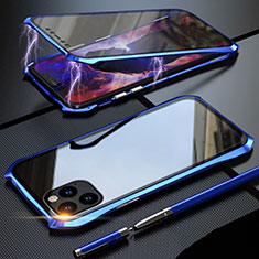 Custodia Lusso Alluminio Laterale Specchio 360 Gradi Cover M07 per Apple iPhone 11 Pro Max Blu
