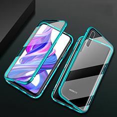 Custodia Lusso Alluminio Laterale Specchio 360 Gradi Cover M07 per Huawei Honor 9X Pro Verde