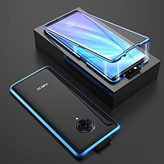 Custodia Lusso Alluminio Laterale Specchio 360 Gradi Cover M08 per Vivo Nex 3 Blu