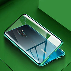 Custodia Lusso Alluminio Laterale Specchio 360 Gradi Cover M09 per Oppo Reno Ace Verde