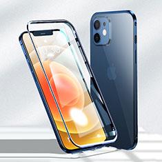 Custodia Lusso Alluminio Laterale Specchio 360 Gradi Cover N01 per Apple iPhone 12 Blu
