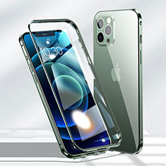 Custodia Lusso Alluminio Laterale Specchio 360 Gradi Cover N01 per Apple iPhone 12 Pro Max Verde