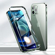 Custodia Lusso Alluminio Laterale Specchio 360 Gradi Cover N01 per Apple iPhone 12 Pro Verde