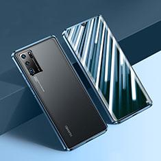 Custodia Lusso Alluminio Laterale Specchio 360 Gradi Cover N01 per Huawei P30 Pro Blu