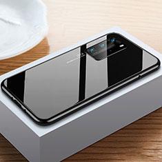 Custodia Lusso Alluminio Laterale Specchio 360 Gradi Cover N01 per Huawei P40 Pro Nero