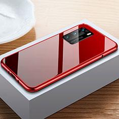 Custodia Lusso Alluminio Laterale Specchio 360 Gradi Cover N01 per Huawei P40 Rosso e Nero