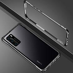 Custodia Lusso Alluminio Laterale Specchio 360 Gradi Cover N02 per Huawei P40 Nero