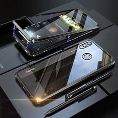 Custodia Lusso Alluminio Laterale Specchio 360 Gradi Cover P01 per Huawei Honor V10 Lite Nero