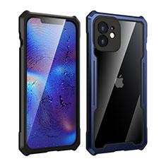 Custodia Lusso Alluminio Laterale Specchio 360 Gradi Cover per Apple iPhone 12 Mini Blu e Nero
