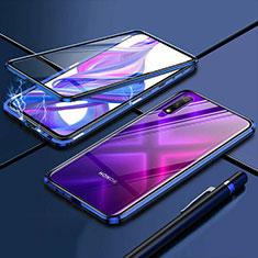 Custodia Lusso Alluminio Laterale Specchio 360 Gradi Cover per Huawei Enjoy 10 Blu
