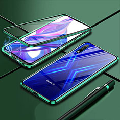 Custodia Lusso Alluminio Laterale Specchio 360 Gradi Cover per Huawei Enjoy 10 Verde