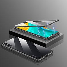 Custodia Lusso Alluminio Laterale Specchio 360 Gradi Cover per Huawei Enjoy 10e Nero