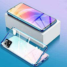Custodia Lusso Alluminio Laterale Specchio 360 Gradi Cover per Huawei Enjoy 20 5G Blu
