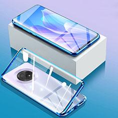 Custodia Lusso Alluminio Laterale Specchio 360 Gradi Cover per Huawei Enjoy 20 Plus 5G Blu