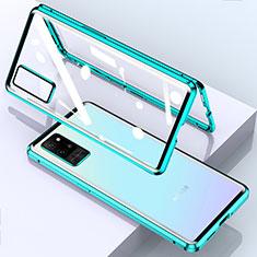 Custodia Lusso Alluminio Laterale Specchio 360 Gradi Cover per Huawei Honor Play4 Pro 5G Ciano