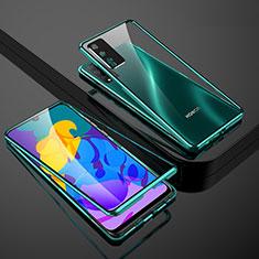 Custodia Lusso Alluminio Laterale Specchio 360 Gradi Cover per Huawei Honor Play4T Pro Verde