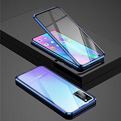 Custodia Lusso Alluminio Laterale Specchio 360 Gradi Cover per Huawei Honor View 30 5G Blu
