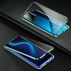 Custodia Lusso Alluminio Laterale Specchio 360 Gradi Cover per Huawei Honor X10 5G Verde