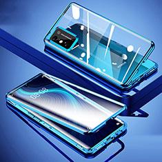 Custodia Lusso Alluminio Laterale Specchio 360 Gradi Cover per Huawei Honor X10 Max 5G Blu