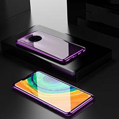 Custodia Lusso Alluminio Laterale Specchio 360 Gradi Cover per Huawei Mate 30E Pro 5G Viola