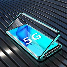 Custodia Lusso Alluminio Laterale Specchio 360 Gradi Cover per Huawei Mate 40 Lite 5G Ciano