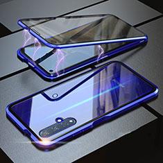Custodia Lusso Alluminio Laterale Specchio 360 Gradi Cover per Huawei Nova 5T Blu