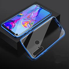 Custodia Lusso Alluminio Laterale Specchio 360 Gradi Cover per Huawei P20 Lite (2019) Blu
