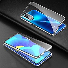 Custodia Lusso Alluminio Laterale Specchio 360 Gradi Cover per Huawei P40 Lite 5G Argento