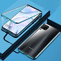 Custodia Lusso Alluminio Laterale Specchio 360 Gradi Cover per Huawei P40 Lite Blu