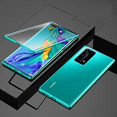 Custodia Lusso Alluminio Laterale Specchio 360 Gradi Cover per Huawei P40 Pro+ Plus Verde