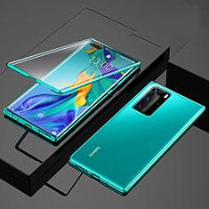 Custodia Lusso Alluminio Laterale Specchio 360 Gradi Cover per Huawei P40 Pro Verde