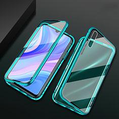 Custodia Lusso Alluminio Laterale Specchio 360 Gradi Cover per Huawei Y8p Verde