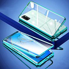 Custodia Lusso Alluminio Laterale Specchio 360 Gradi Cover per Oppo A32 Verde
