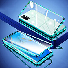 Custodia Lusso Alluminio Laterale Specchio 360 Gradi Cover per Oppo A53s Verde