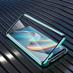 Custodia Lusso Alluminio Laterale Specchio 360 Gradi Cover per Oppo A92s 5G Verde