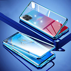 Custodia Lusso Alluminio Laterale Specchio 360 Gradi Cover per Oppo A93 Blu