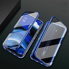 Custodia Lusso Alluminio Laterale Specchio 360 Gradi Cover per Oppo Reno2 Z Blu