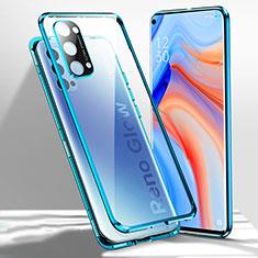 Custodia Lusso Alluminio Laterale Specchio 360 Gradi Cover per Oppo Reno4 5G Blu