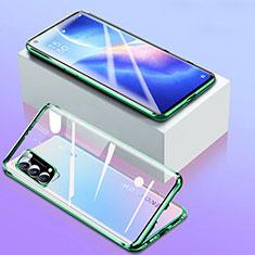 Custodia Lusso Alluminio Laterale Specchio 360 Gradi Cover per Oppo Reno5 5G Verde