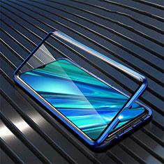Custodia Lusso Alluminio Laterale Specchio 360 Gradi Cover per Realme 5i Blu