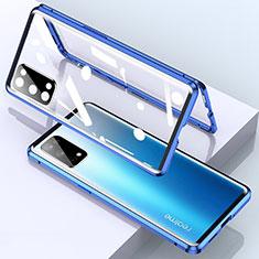 Custodia Lusso Alluminio Laterale Specchio 360 Gradi Cover per Realme X7 Pro 5G Blu