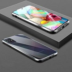 Custodia Lusso Alluminio Laterale Specchio 360 Gradi Cover per Samsung Galaxy A71 5G Nero