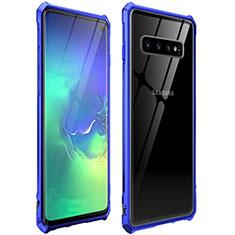 Custodia Lusso Alluminio Laterale Specchio 360 Gradi Cover per Samsung Galaxy S10 Blu
