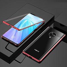 Custodia Lusso Alluminio Laterale Specchio 360 Gradi Cover per Vivo Nex 3S Rosso