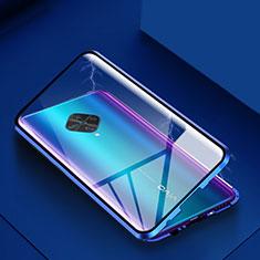 Custodia Lusso Alluminio Laterale Specchio 360 Gradi Cover per Vivo X50 Lite Blu