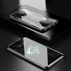 Custodia Lusso Alluminio Laterale Specchio 360 Gradi Cover per Xiaomi Black Shark 3 Nero