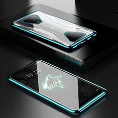Custodia Lusso Alluminio Laterale Specchio 360 Gradi Cover per Xiaomi Black Shark 3 Verde